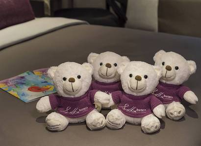 Silka Bear: Our cute signature bear is available for purchase at reception